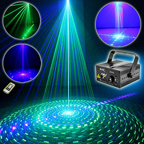 SUNY Laser Light Home Decor Green Blue GB 9 Gobo Projector Z09GB DJ Xmas Family Holiday Event Party Show Lights Stage Remote Controller