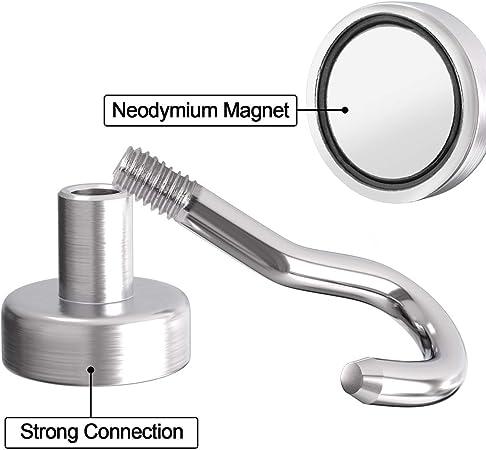 Lictin Magnethaken Starker Neodym Hacken Magnet Magnetischer Haken Haftkraft 5.5kg 10 St/ück