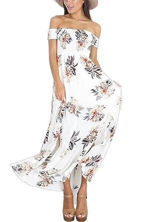 Floral Cocktail Épaules Longue Imprimé Bustier Cindeyar Femme Robe Plage Maxi Mousseline D'été Bohême Dénudées Chic pSzqUMV
