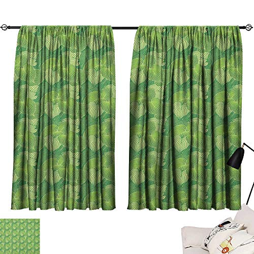Warm Family Green Insulated Sunshade Curtain Abstract Hosta Plants Lush Forest Growth Leaves Ecology Jungle Theme Set of Two Panels 55