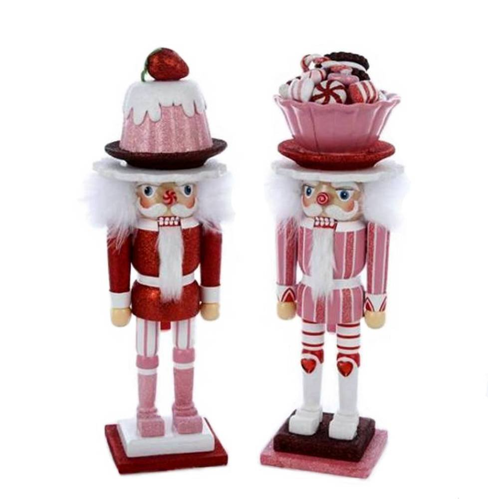 Kurt Adler Hollywood 2 Assorted Nutcrackers Candy Dish Hat & Cake Hat Wood 15'' Nutcrackers