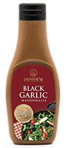 Homtiem Black Garlic Mayonnaise 7.04 Oz (200g), Squeeze Bottle, Gluten Free, Egg Free, Dairy Free, Vegan, Non-GMOs, for Sandwiches, Dressings, Sauces and Recipes