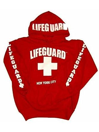 2816b5bc2e8a Amazon.com  LIFEGUARD New York City Hoodie - Red Sweatshirt Apparel ...