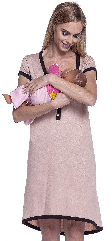 Femme Maternit/é Chemise Nuit Nuisette Grossesse et Allaitement Happy Mama 981p
