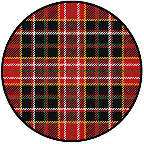 Printing Round Rug,Red Plaid,Vertical and Horizontal Lines Tartan Backdrop Scottish Culture Inspired Pattern Decorative Mat Non-Slip Soft Entrance Mat Door Floor Rug Area Rug For Chair Living Room,Mul ()