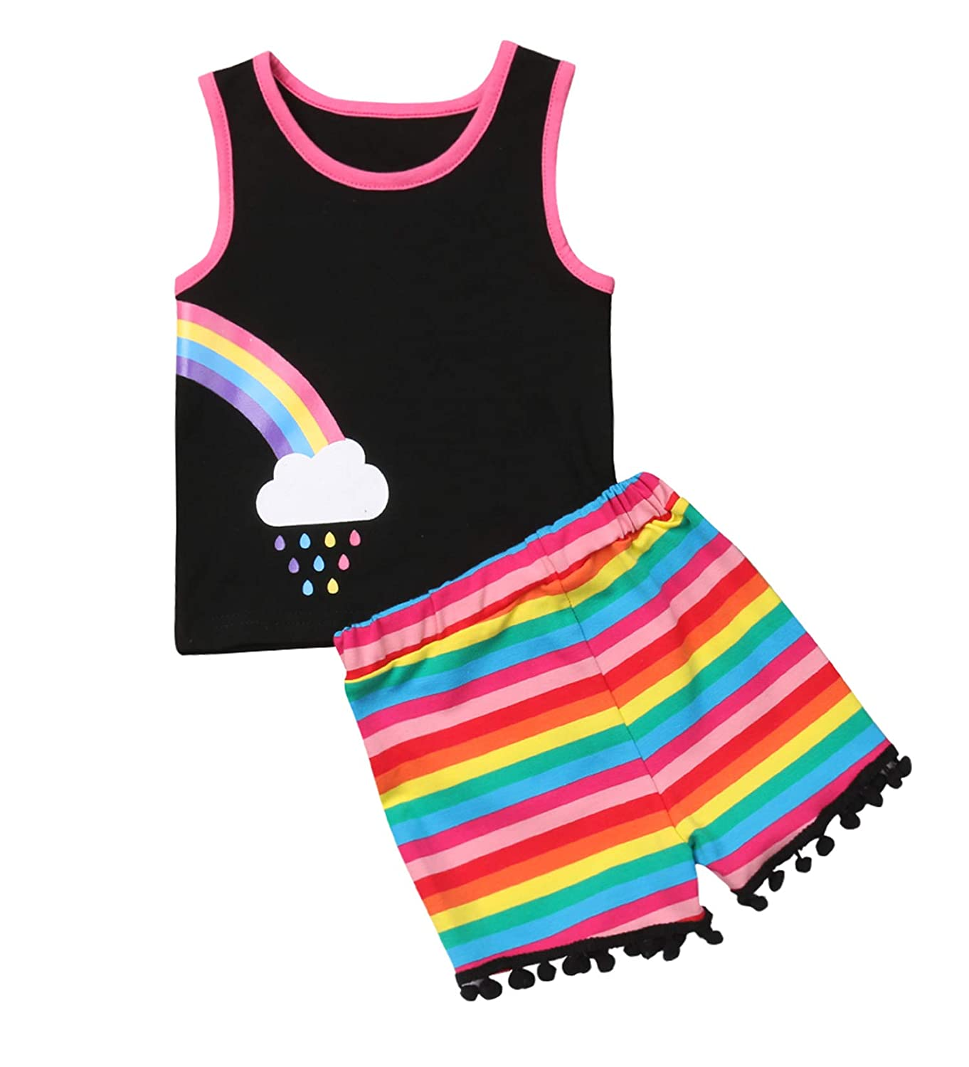 Sold Per 1 Set Styles I Love Baby Twin Girl Matching Rainbow Tank Top with Pom Pom Shorts 2pcs Best Friend Inspired Outfit