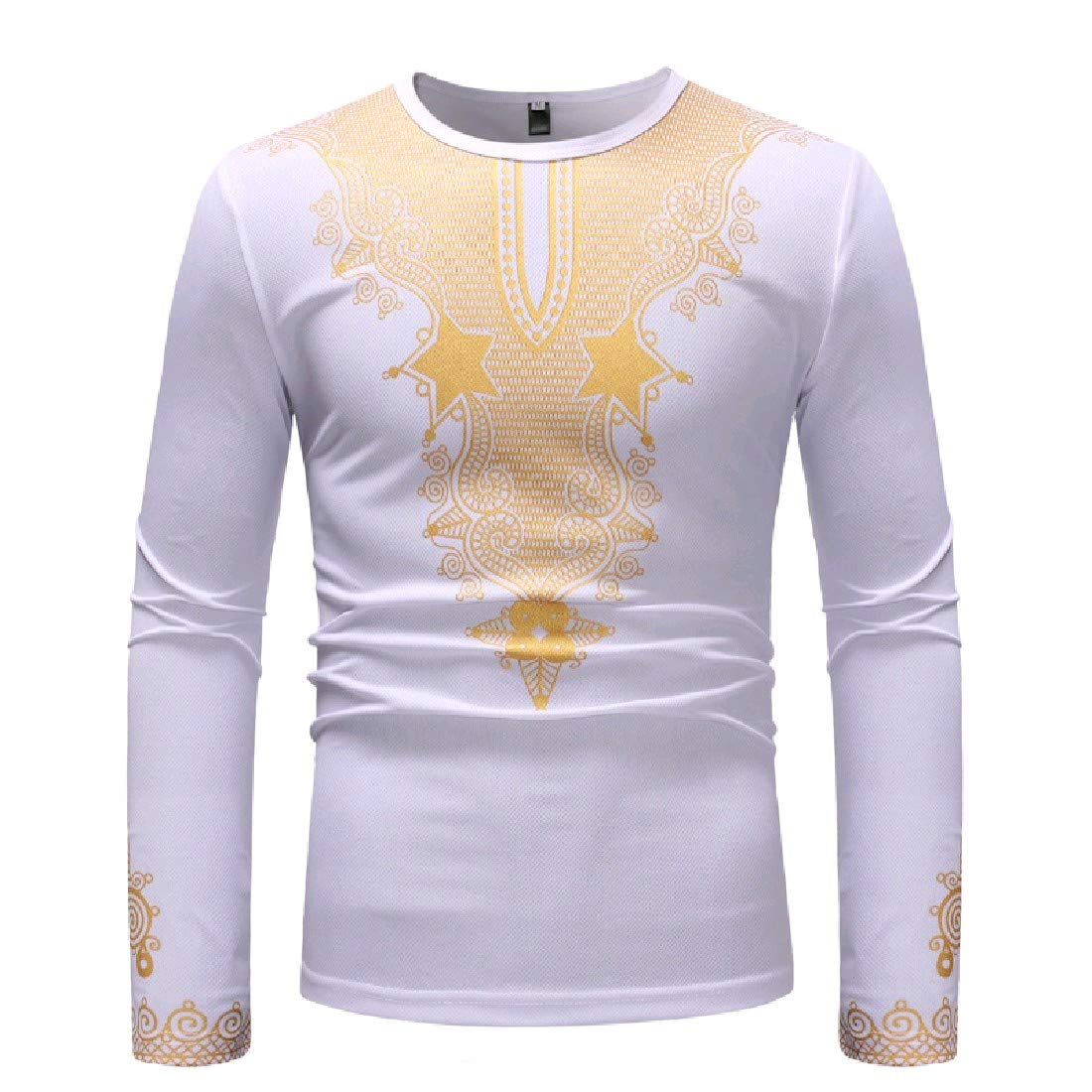 YUNY Men Pullover Plus Size Dashiki African Tees Pullover Top White M