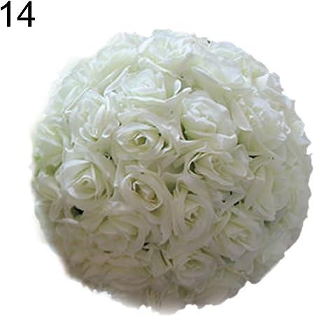 qingsb Artificiale Finta Seta Rose Ball Flower Balls Palla appesa Decorazione per Festa di Nozze Baby Shower Decorazione Domestica Beige