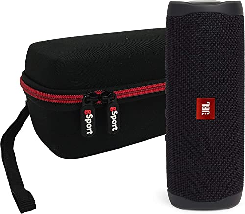 JBL FLIP 5 Portable Speaker IPX7 Waterproof On-The-Go Bundle with gSport Deluxe Hardshell Case Black