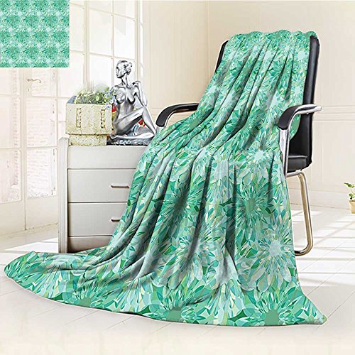 (YOYI-HOME Weave Pattern Extra Long Duplex Printed Blanket with Beryl Crystal Guilloche Flowers Carving Art Decorating Image Print Green Custom Design Cozy Flannel Blanket /W86.5 x H59)