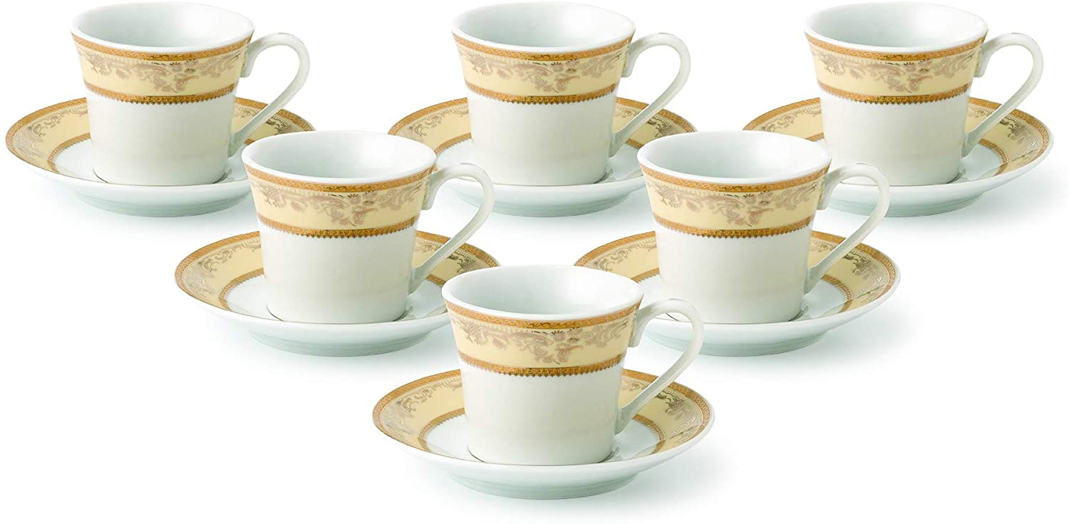 Lorren Home Trends Chloe-6 Cups and Saucers, One Size, Gold