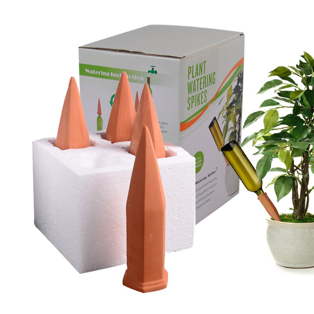 WMSB Plant Watering Spikes Set of 4 Water Plants with This Great House Plant Watering System Perfect as a Plant Waterer and Amazing for Vacation Plant Waterin