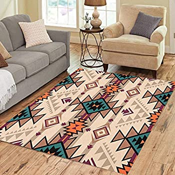 Pinbeam Area Rug Retro Color Tribal Navajo Aztec Fancy Abstract Geometric Home Decor Floor Rug 5' x 7' Carpet