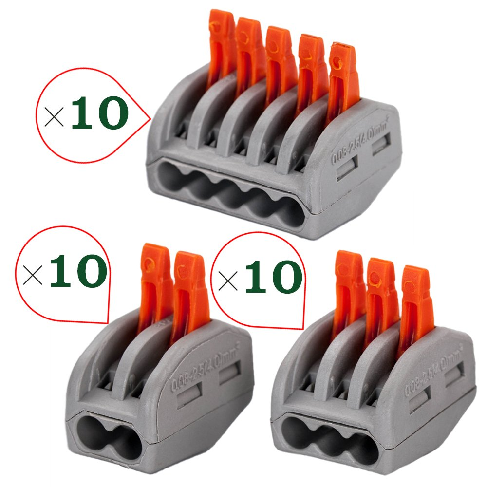 HIFROM 3 Type 2/3/5 Port Lever-Nut Lever Conductor Compact Wire Connectors PCT-212/PCT-213/PCT-215 Terminal Block Wire Push Cable Connector for Junction Box Assortment Pack (30 Pack)
