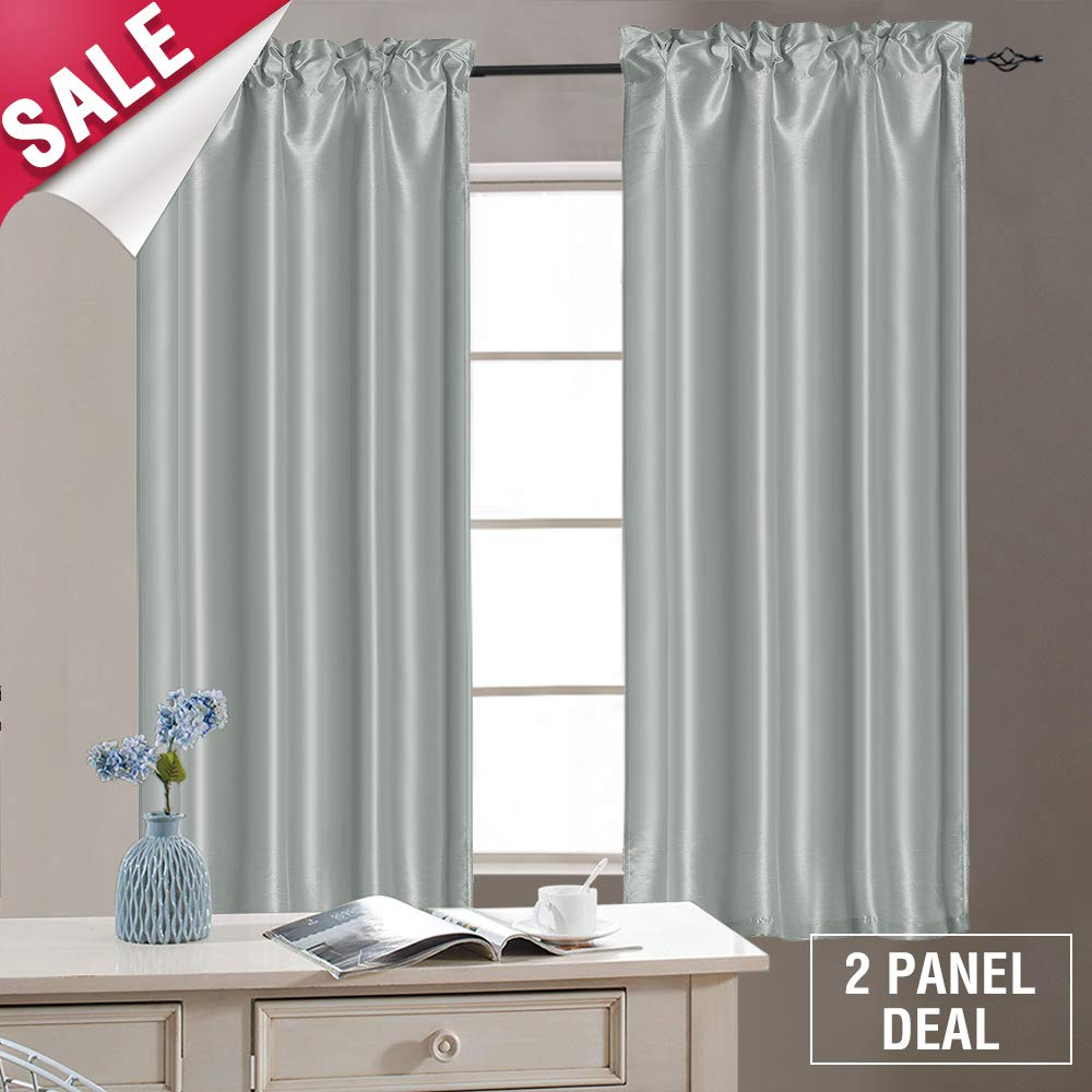 Kitchen Tiers Grey Tier Curtains 40 inch Tier Curtains for Windows Cafe Curtains Rod Pocket Faux Silk Half Windoow Curtains, 2 Panels, with Bonus Tiebacks