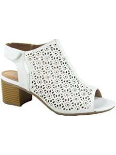 de163a82891 City Classified FZ-Elect-s Women s Sexy Peep Toe Perforated Low Chunky Heel  Sandals