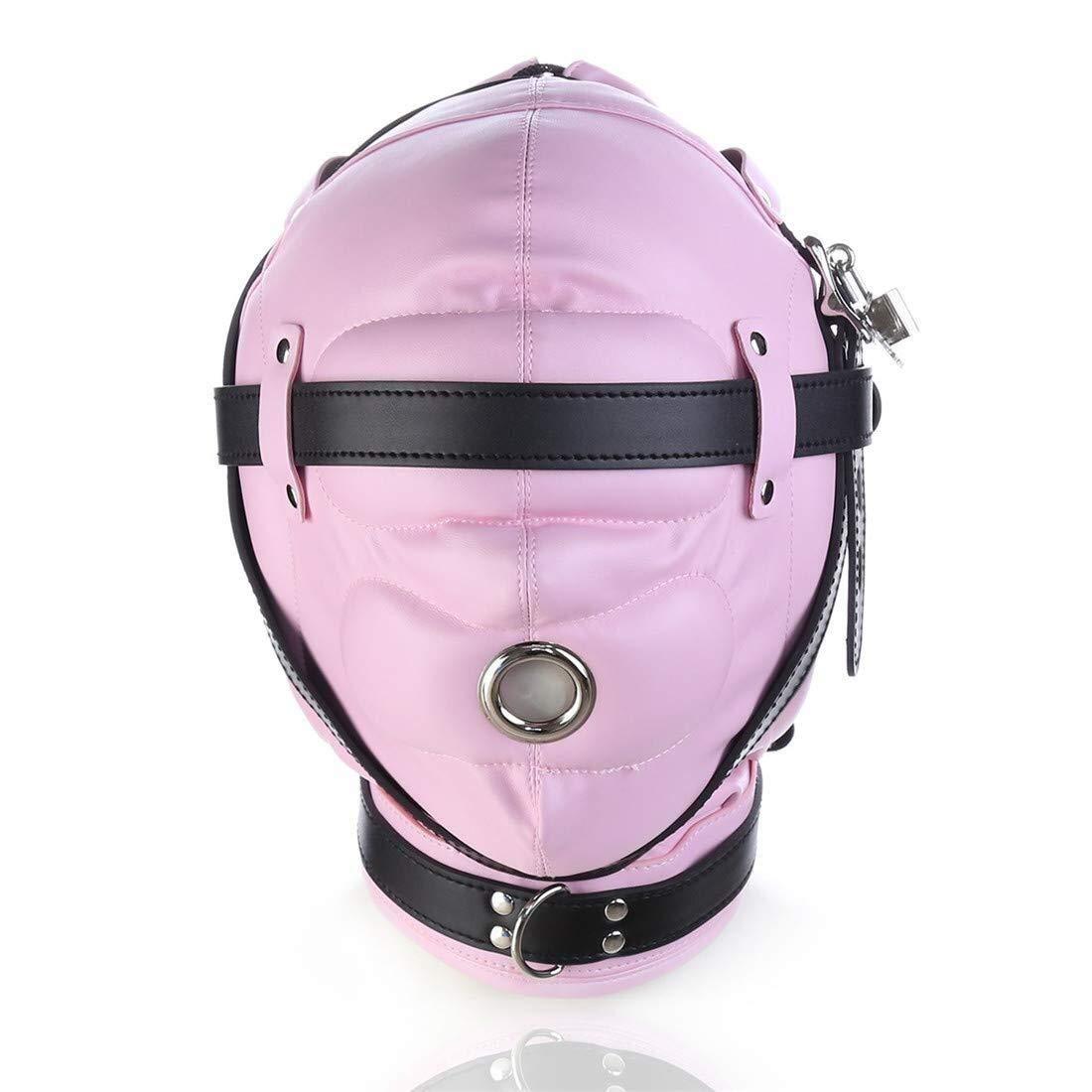 GROSSARTIG Halloween Mask Blindfolded Headgear Mask Leather Mask Punishment Bondage Game Flirting SM Helmet Fetish Head Hood Restraint Headgear Sex Toy (Color : Red) (Color : Pink) by GROSSARTIG