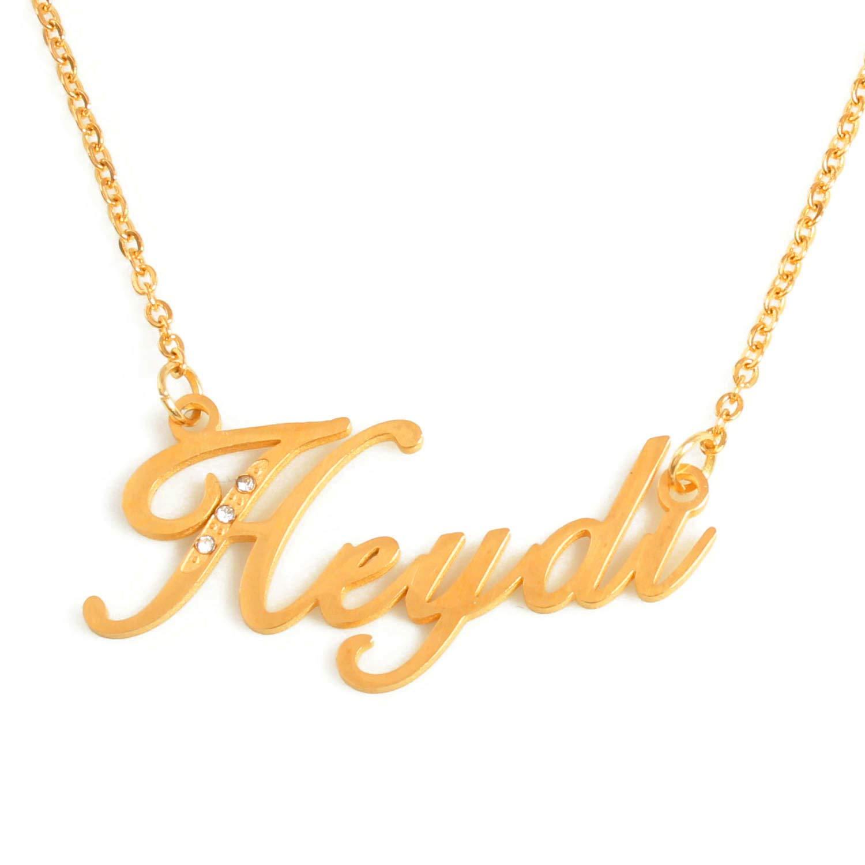 Crystals Gold Tone Incl Zacria Italic Name Necklace HEYDI