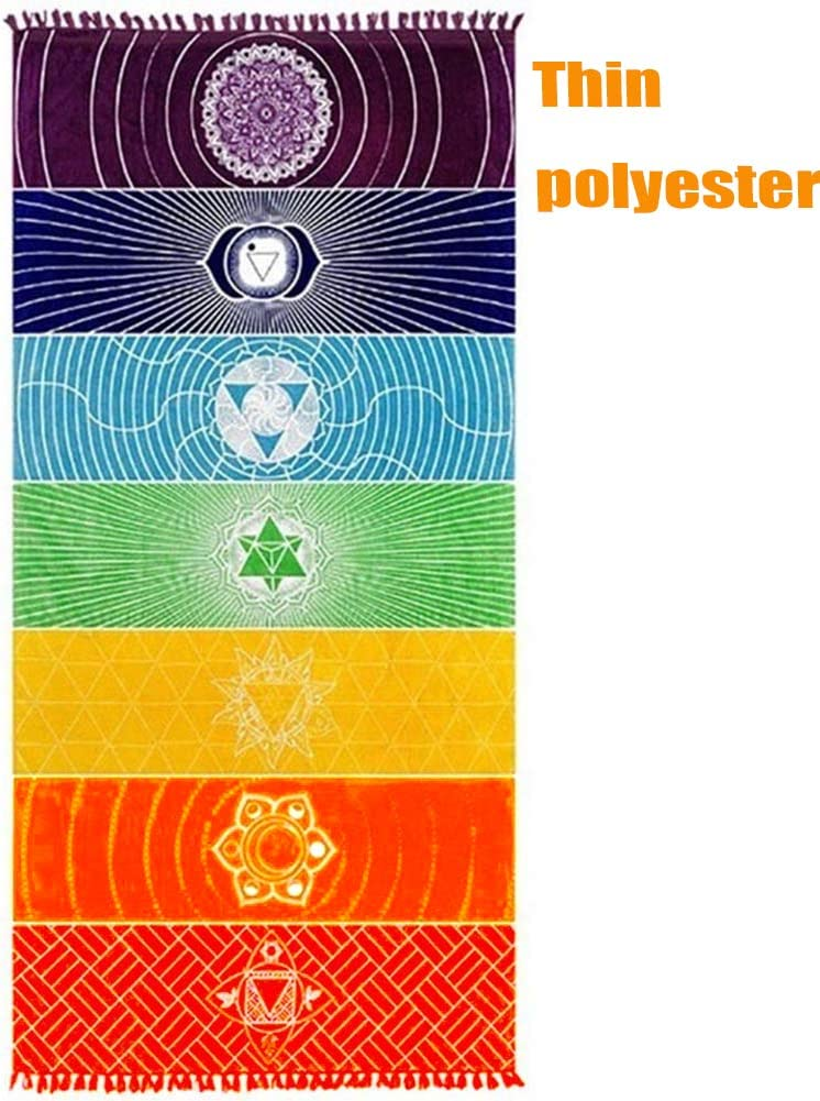 Neasyth Chakra Tapestry Meditation Yoga Rug Towels Mexico Chakras Tassel Striped Floor Mat 59 in (Polyester, 59x30in)