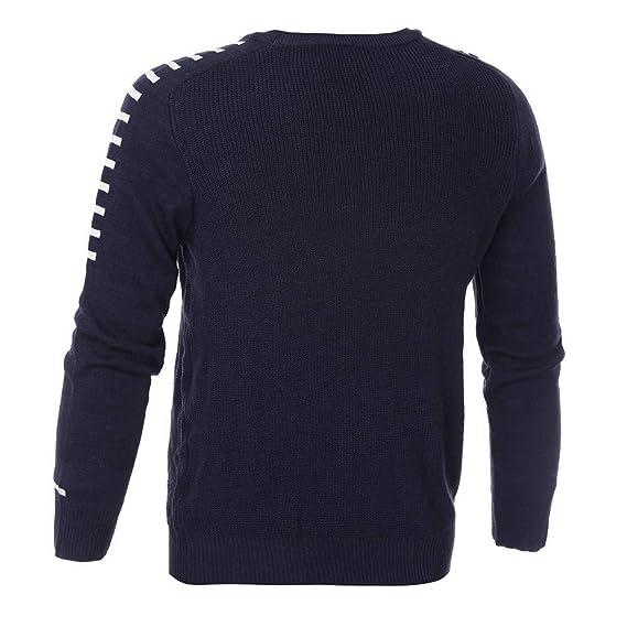 JiaMeng Hombre Manga Larga Sudadera Suéter de Manga Larga de Invierno de Punto sólido Jerseys Blusa Camiseta de CompresiónManga Larga para Hombre: ...
