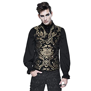 b4172f53968 Steampunk Gothic Men Waistcoat Punk Vintage Palace Embroidered Sleeveless  Vests Tops Coats (S