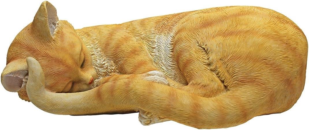 Sleeping Tabby Cat Yellow /& Orange Cat Nap Kitty Cat Home Garden Sculpture