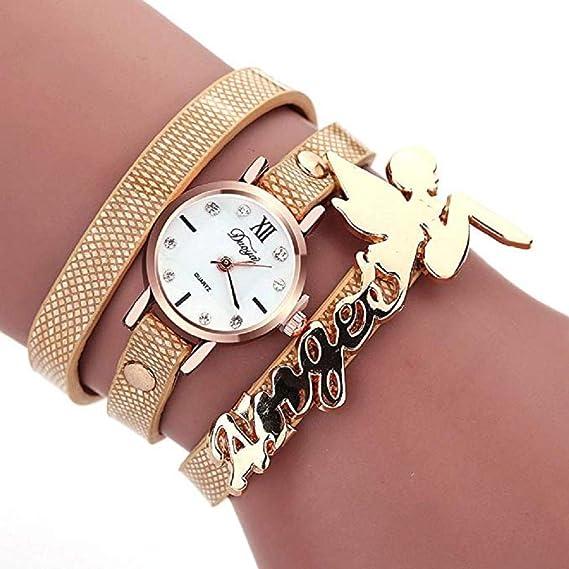 Relojes de Cuarzo para Mujeres, Reloj de Pulsera de liquidación Reloj de Malla de Cuero