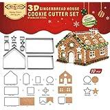 ACHICOO ビスケット型 3D DIY ジンジャーブレッドハウス ステンレス クリスマス シナリオクッキー カッターセット フォンダンカッター ベーキングツール