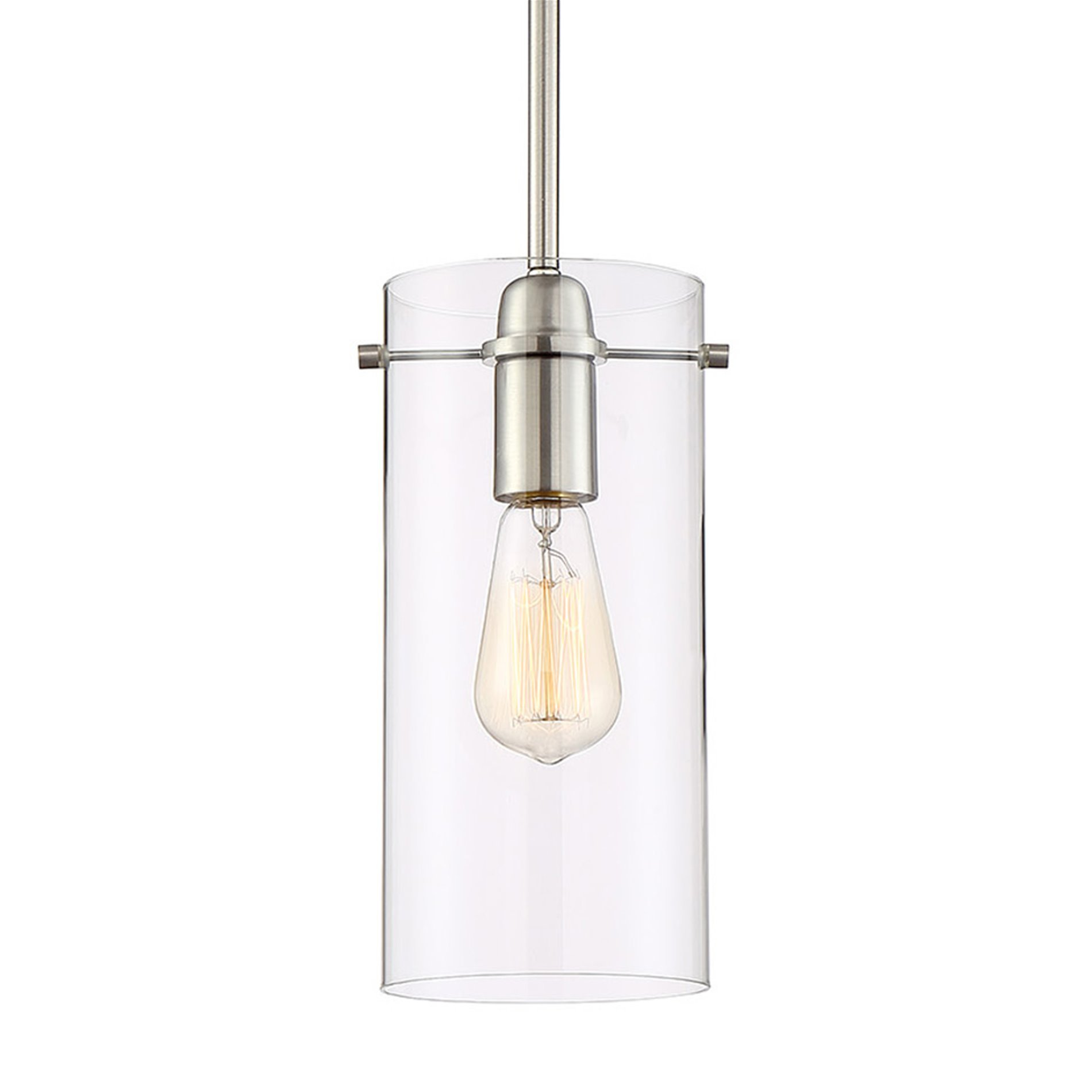 Kira Home Inara 11'' Contemporary 1-Light Stem-Hung Pendant Light with Glass Cylinder Shade, Brushed Nickel Finish