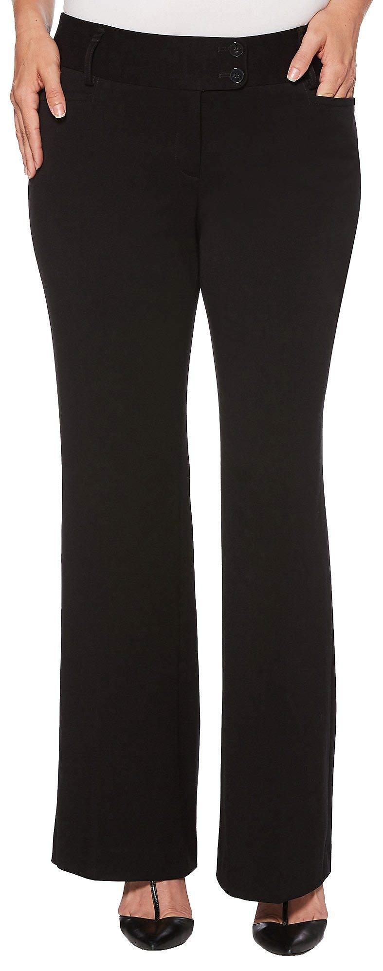 Rafaella Women's Curvy Fit Gabardine Boot Leg Trouser, Black 12