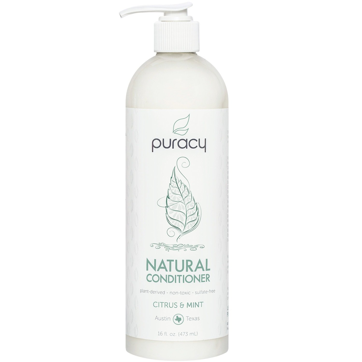Puracy Natural Conditioner Sulfate-Free, Non-Toxic Plant Polymers for Soft, Silky Hair and Detangling, Citrus & Mint, 473 mL Pump Bottle PNC16-1