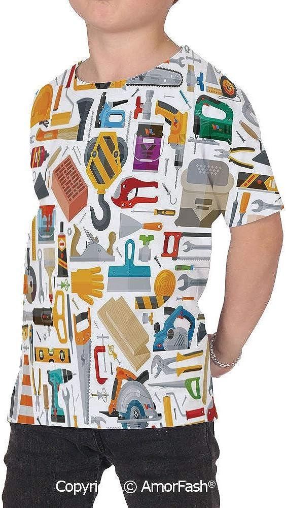 PUTIEN Construction Childrens Summer Casual T Shirt Dresses Short Sleeve,Construction