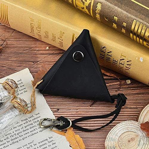 New Small Bag Crazy Horse Classic Simple Triangle Handmade Coin Purse Hasp Practical Cool Personality Genuine Leather Gimax Coin Purses Color: Dark Brown