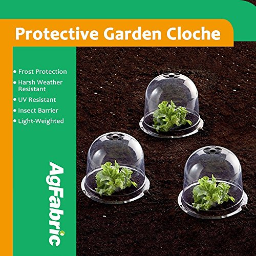 Mr.Garden Standard Plastic Protective Garden Cloche, Plant Bell Cover, Plant Protector Cover for season extention with Ground Securing Pegs (5, (Garden Dome)