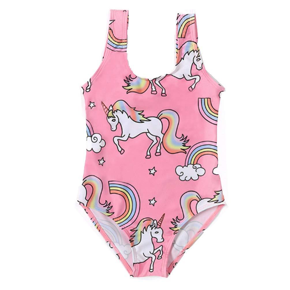 6654b98a5f Amazon.com: Rauoawby Girls Unicorn Swimwear Kids Unicorn Print Swimsuit-  One Piece Hawaii Bikinis Summer Beach Bathing Suit: Clothing