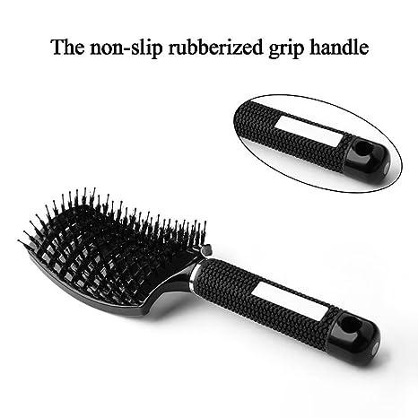 Longtrix Grande cepillo ventilado curvado para pelo, con cerdas de jabalí anti estáticas ligero suave para secar el pelo (Negro): Amazon.es: Belleza