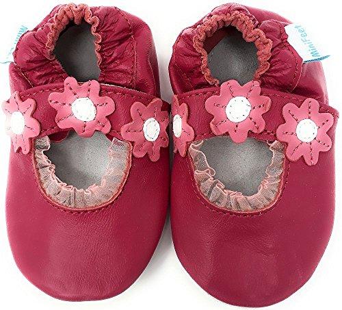 MiniFeet Premium Weich Leder Babyschuhe Jungen und Mädchen 0-6, 6-12, 12-18, 18-24 Monate und 2-3, 3-4 Jahre Dunkelrosa Sandale