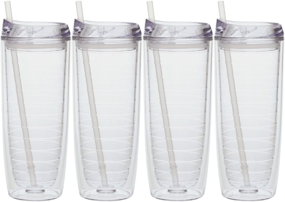 Culver Cool Cup Double Walled Insulated Tall Tumbler with Lid and Straw 20-Ounce Blue Set of 4