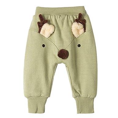 d316b2633b99fb Miyanuby Boys Trousers,Toddler Baby Boys Girls Winter Warm Cute Christmas  Reindeer Fleece Harem Pants