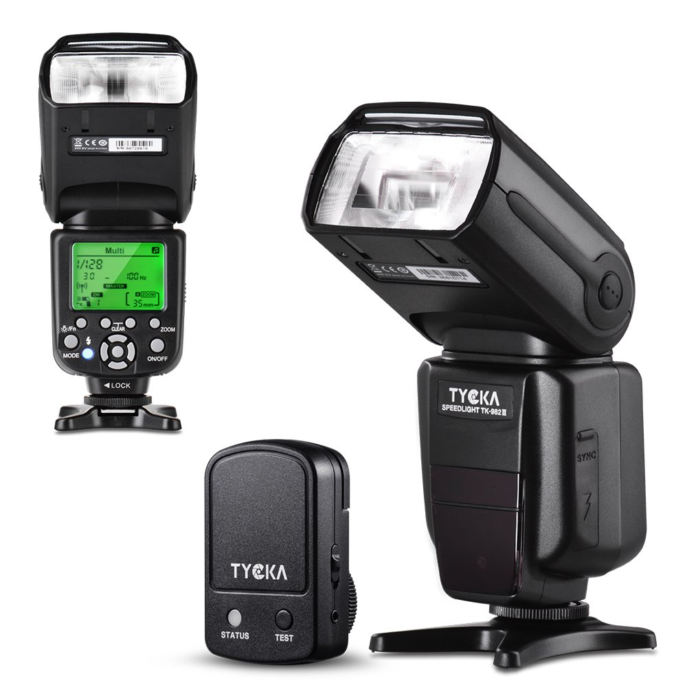 Tycka Basics Speedlight Flash with 2.4G wireless trigger remote, LCD display, M Multi S1 S2 flash modes, overheating protection for Canon Nikon Sony Panasonic Olympus Pentax DSLR Cameras with standard hot-shoe TK205 RA-TK205