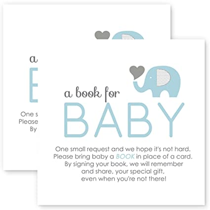 Amazon Elephant Bring A Book For Baby Shower Insert Card Blue