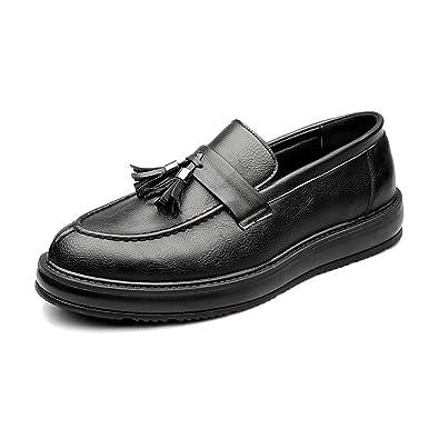 Chaussures Classiques pour Hommes en Cuir PU Souple Slip-on Soft Business Oxfords Chaussures de Sport en Cuir pour Hommes (Color : Black, Size : 44 EU)