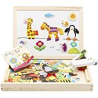 "Juleya Wooden Drawing Writing ""Board Double Side manyetik Puzzle Oyun için oyuncak set çocuk hayal gücü R160810WJ013-U"