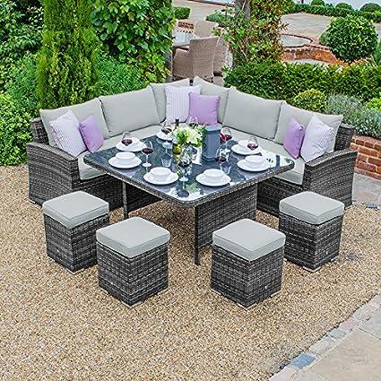 d4aca4d6b2b5 Maze Rattan Outdoor Rattan Garden Furniture by Deluxe Kingston Corner Sofa  Dining Set - Grey: Amazon.co.uk: Kitchen & Home