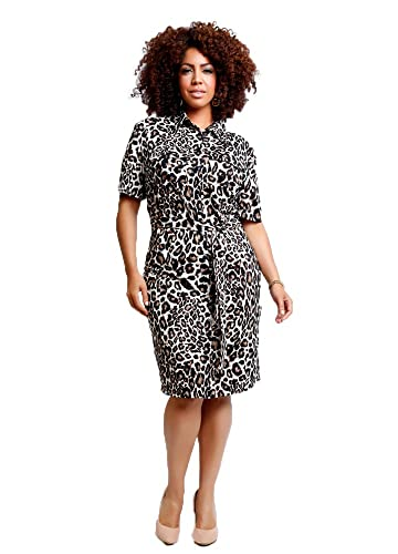 TD New York BETTINA Animal Print Plus Size Dress with Sleeves, Button Front Leopard Print Shirt Dres...