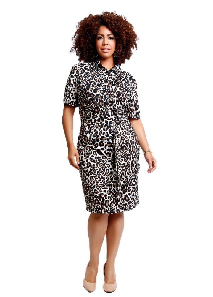 TD New York Curvy Women's Plus Size Bettina Shirtdress in Leopard Print (2X)