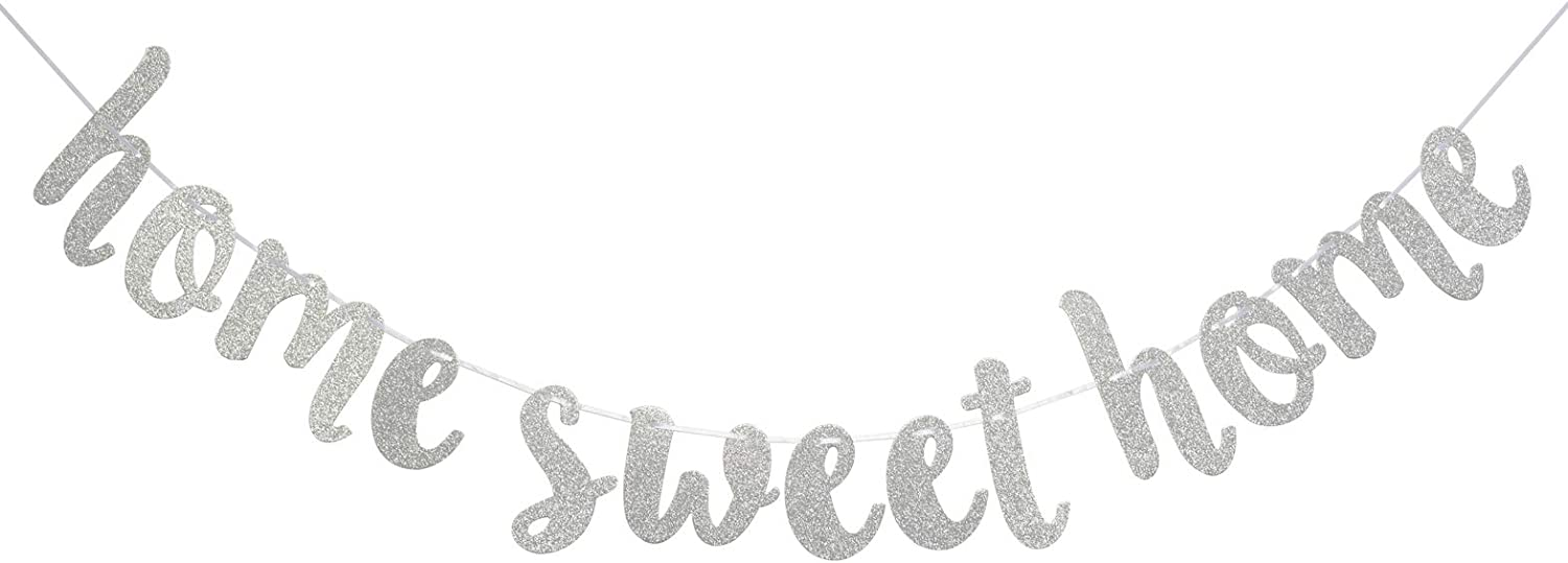 Home Sweet Home Silver Glitter Hanging Sign Banner- Welcome Home Banner, Home from War Banner, Military Welcome Home Banner, Welcome Home Sign(Silver)