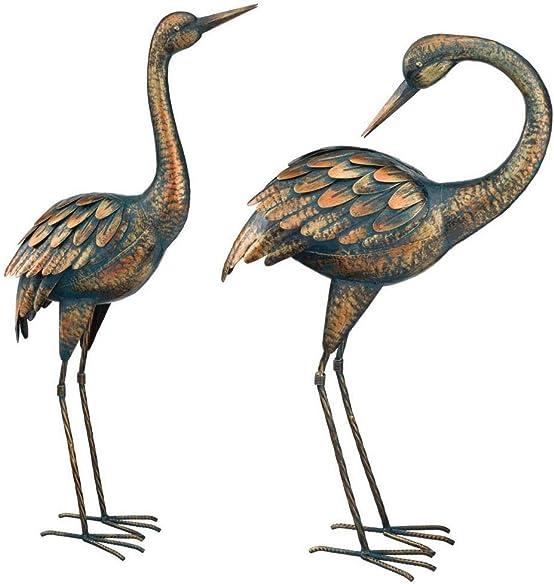 Copper Patina Heron Pair Metal Garden Decor Statues Bird Yard Sculptures Crane