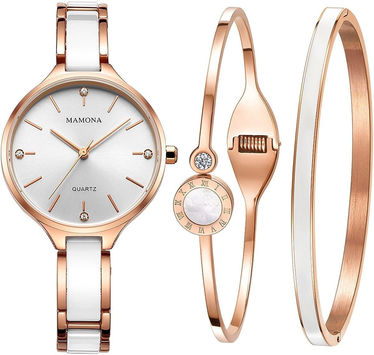 Set-MAMONA Reloj De Pulsera Quartz Para Mujeres, Set Cerámica Rosa Dorada Y Reloj De Acero Inoxidable 3877LRGT: Amazon.es: Relojes