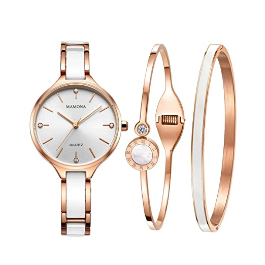 3ef01a12de97 Ladies Quartz Watch Women Bracelet Set-MAMONA Rose Gold White Ceramic and  Stainless Steel Watch Gift Set 30M Waterproof 3877LRGT  Amazon.co.uk   Watches